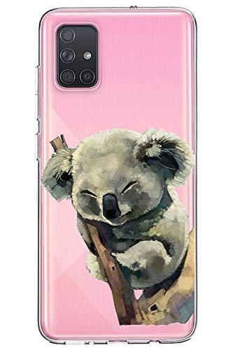 Oihxse Compatible con Samsung Galaxy A90 5G Funda Cristal Silicona TPU Suave Ultra-Delgado Protector Estuche Creativa Patrón Protector Anti-Choque Carcasa Cover(Pereza A6)