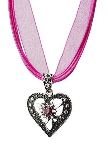 Trachtenkette Herzstein eleganter Herz Anhänger mit funkelndem Strass - Trachtenschmuck Kette für Dirndl und Lederhose (Pink)
