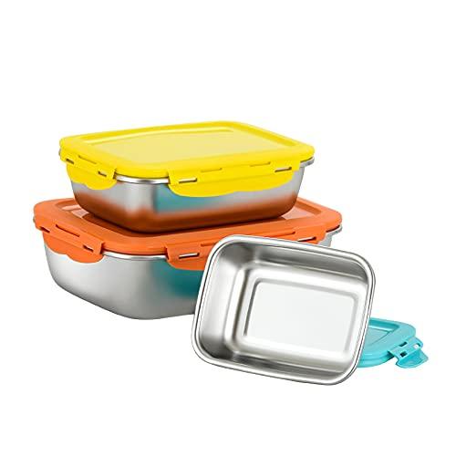 3 Stück Frischhaltedosen mit Deckel Edelstahl Lebensmittelbehälter Luftdicht Vorratsbehälter mit Deckel Meal Prep Boxen für Spülmaschinenfest Ofen Gefrierschrankgeeignet
