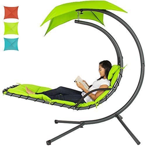 Best Choice Products Outdoor Hanging Curved Steel Chaise Lounge Chair Swing w/Built-in Pillow and Removable Canopy, Green
