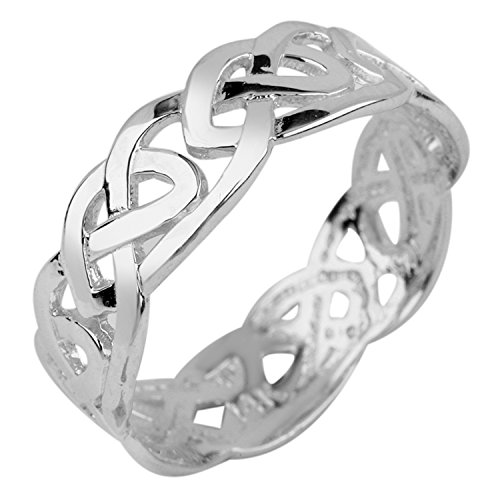 Women's 14k White Gold Celtic Wedding Band Trinity Knot Eternity Ring (5.75)