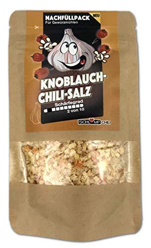 Schlump-Chili⎥KNOCHISA⎥Knoblauch Chili Salz Nachfüllset Gewürzmischung mit Meersalz, Knobi und Chilis⎥geeignet für Gewürzmühlen mit Edelstahlmahlwerk oder Keramikmahlwerk (1x 50 g)