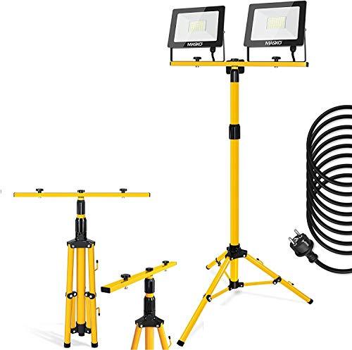 MASKO® LED Baustrahler mit Stativ 100W Doppel 2x 50W Strahler 6500K Arbeitsleuchte Arbeitsscheinwerfer 5m Bauscheinwerfer Baulampe Baustellenlampe innen außen höhenverstellbar bis max. 202cm