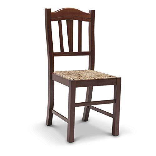 Juego de 2sillas Lia con acabado de nogal y asiento de enea