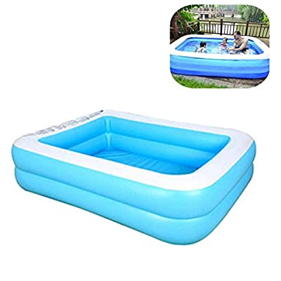 Akaho Family Inflatable Swimming Pools Thickened Family Pool for Children Adults, PVC Folding Durable Swim Center Family Inflatable Pool Family Kid Adult Bath Tubs (155cm for 1-3P, Blue-2Fly)