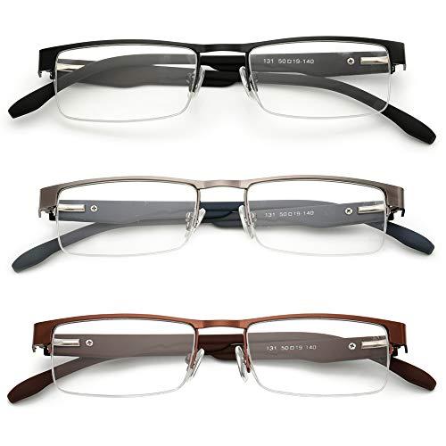 KOOSUFA Metall Lesebrillen Herren Damen Klassische Halbrandbrille Stärken Breit Lesebrille Qualität Schwarz Braun Grau (3 Stück set (1 x Schwarz+1 x Braun+1 x Grau), 1.5)