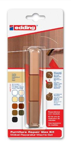 edding 8901 Möbel-Reparatur-Wachs-Set - 3 mischbare Farben - buche - Zum Entfernen von Kratzern und Schrammen auf Möbeln und Holz