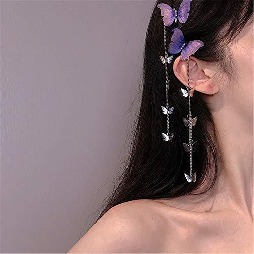 WeiX 2 Piezas Tiaras para el Pelo,Diademas,pasadores de Pelo de Mariposa de Hilo, Pinzas de Pelo largas con borlas de Metal Elegantes, para Mujeres, Accesorios para el Cabello de Fiesta