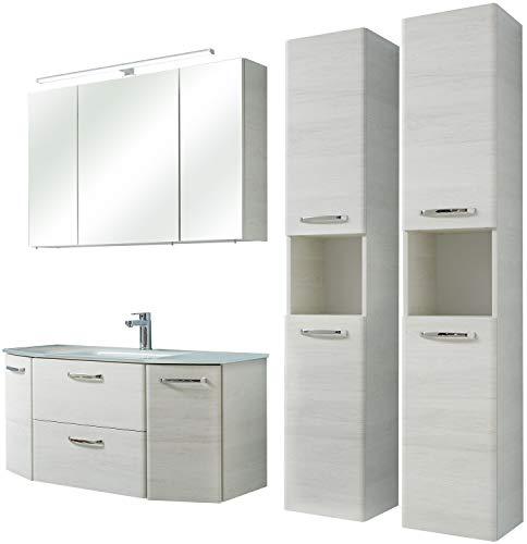 Pelipal - Amora 13 - Badmöbel-Set - 112 cm - 5-teilig Badset Komplettset mit Spiegelschrank Glas-Waschtisch usw. in Eiche weiß quer NB - EEK: A+ (Spektrum A++ - A)