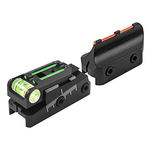 TRUGLO TruPoint Xtreme Universal Shotgun Sights with Luminescent Alignment Level and Elevation Ramp for Ribbed Shotgun