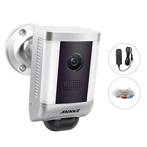 ANNKE - Telecamera proiettore 1080P Wired Spotlight per registratore 5MP CCTV DVR Home Security System con HD Live Streaming argento