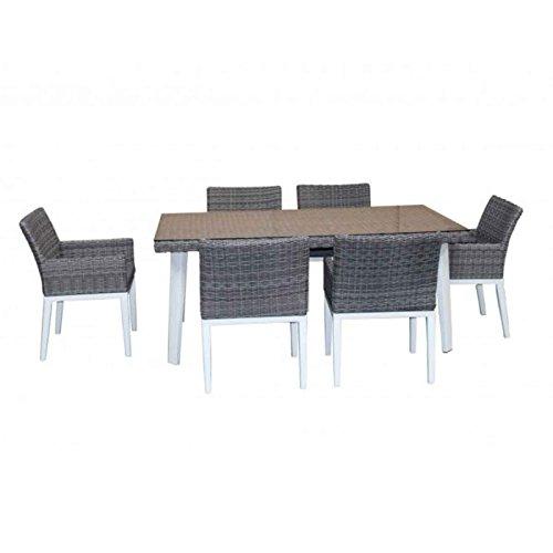 Paris Prix - Table & 6 Fauteuils De Jardin Durango 180cm Blanc & Gris