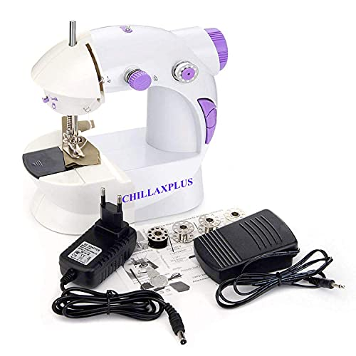 CHILLAXPLUS Mini Portable Electric Dual Speed Sewing Silai Machine with Foot Pedal, Adaptor and Working Light