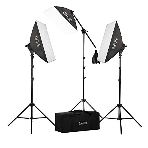 Fovitec 3-Light Fluorescent Studio Lighting Kit w/ Boom arm, 20'x28' Softboxes, 11 45W Bulbs, Light Stands, & Carry Case for Portraits, Product Photos, Vlogging, Video Conferencing, & Live Streaming