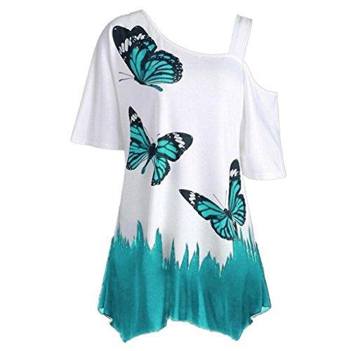 OVERDOSE Damen Sommer Schulterfrei Kurzarm T-Shirt Oberteile Große Größe Frauen Schmetterling Druck Casual Tops Bluse(C,4XL)