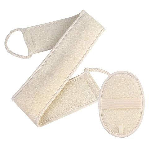 Lot de 2 éponges exfoliantes pour le dos en loofah double face pour le corps et le bain pour homme et femme