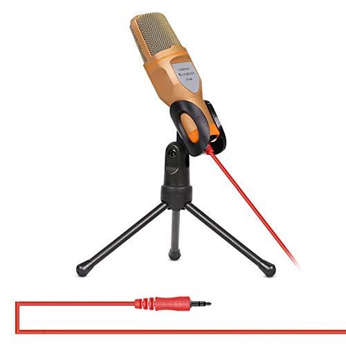 Microfoon SF666 Professionele condensator geluidsopname microfoon met statief houder, kabellengte: 1.3m, compatibel met PC en Mac, voor Live Broadcast Show KTV, Goud