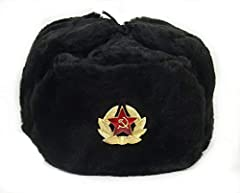 "Military style Ushanka with Soviet Red Star badge Russian winter faux fur hat - ""Ushanka"". Similar hats were used by Russian troops during WW2 to help them survive cold Russian winters and they're still used in Russian army today! New, never worn. Di..."