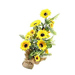 VALICLUD Artificial Sunflower Flower Bouquet with Burlap Summer Silk Flower Bouquet Decor Flower Plants Decoration Daisy Arrangement Centerpieces for Bridal Wedding Home Party Yellow