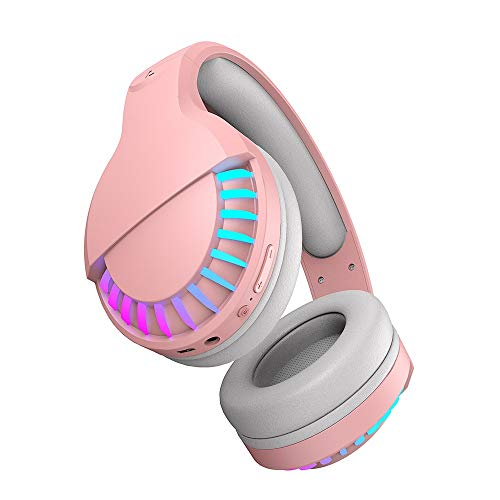 Marxways Dual-Mode Bluetooth V5.0 Drahtlose Kopfhörer über dem Ohr Mikrofon und Lautstärkeregler Drahtloses kabelgebundenes faltbares Headset für iPhone/iPad/PC/Handys/Fernseher (Rosa)