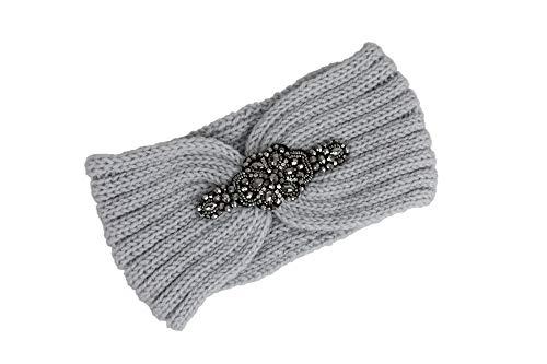 irisaa Hoofdband voor dames met strass gebreide hoofdband haarband oorwarmer