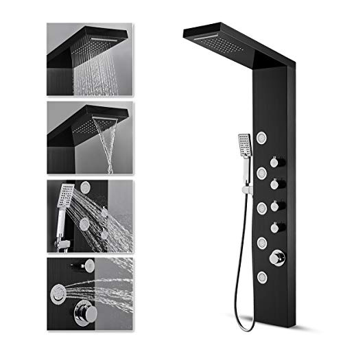 ROVATE Rainfall Waterfall Shower Tower Panel System, 304 Stainless Steel Bathroom Shower Tower with 5 Rain Body Massage Jets and 3 Sets Handheld Shower, Shower Cloumn Wall Mounted Black