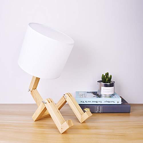 Lámpara de Mesa Salón Grande Lámpara de mesa, lámpara de mesa humanoide sólido de madera japonesa, simple nórdica Personalidad de madera de cabecera del arte de la lámpara, conveniente for el dormitor