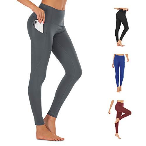 FREEZHOUSHANA Leggings Damen Yogahose, Hohe Taille Sport Leggings Lange Blickdichte Strumpfhosen Damen mit 2 Taschen für Freizeit Fitness Gym Workout