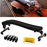 Suewio Violin Shoulder Rest for 4/4-3/4 Size, with Collapsible and Height Adjustable Feet, Including a Violin Practice Mute