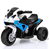 Costzon Kids Ride on Motorcycle, 6V Battery Powered 3 Wheels Motorcycle Toy for Children Boys & Girls, Electric Ride on Motorcycle w/Headlights &Music, Pedal (Blue)