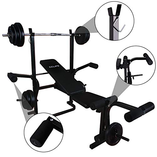CCLIFE Adjustable Multifunctional Weight Lifting Bench Foldable with Butterfly, Colour:001 Black