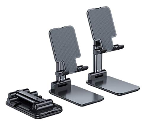 Portable Mobile Phone Holder, Mobile Phone Holder with Adjustable Angle and Height, Suitable for Desktop use, Compatible with All Mobile Phones, iPhone, iPad, Tablet Computers (Black)