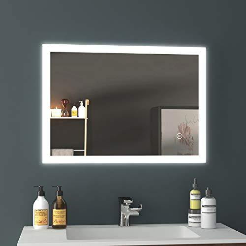 EMKE Badezimmerspiegel 50x70cm LED Badspiegel mit Beleuchtung kaltweiß Lichtspiegel mit Touchschalter IP44 energiesparend