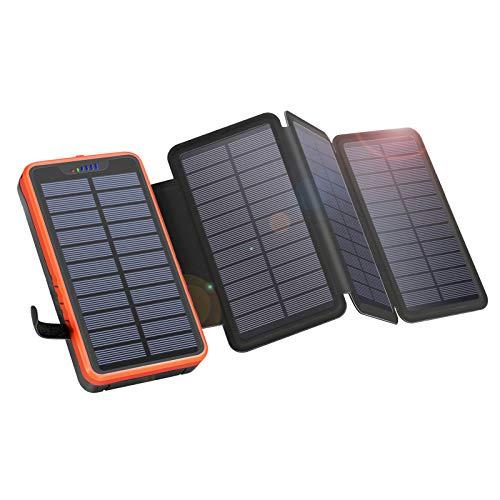 Solar PowerBank 26800mAh, Solar Ladegerät mit 4 Sonnenkollektoren, Taschenlampe, Zwei 5V / 2.1A USB-Ports Externer Akku Kompatibel mit Smartphones, Tablets Outdoor Camping Ladegerät Für