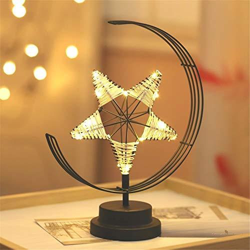 HMLIGHT Kreative LED-Tischlampe Handgefertigte Modellierung Lichter Stern Weihnachten Schmiedeeisen Gewebte Nachtlicht-Raum-Geschenk-Partei-Dekor-Licht,Schwarz
