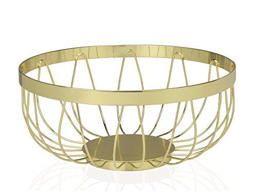 Andrea House CC16018 fruitschaal, metaal, goudkleurig, diameter 8,9 x 22,8 cm