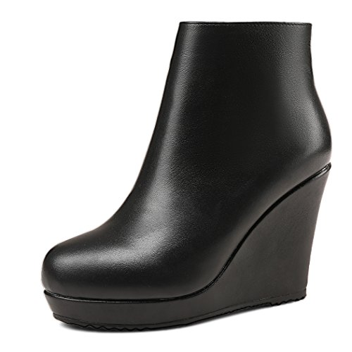 ANNIESHOE Leder Stiefeletten Damen Keilabsatz Ankle Boots Plateau Schwarz 38 CN 37.5 EU 24cm