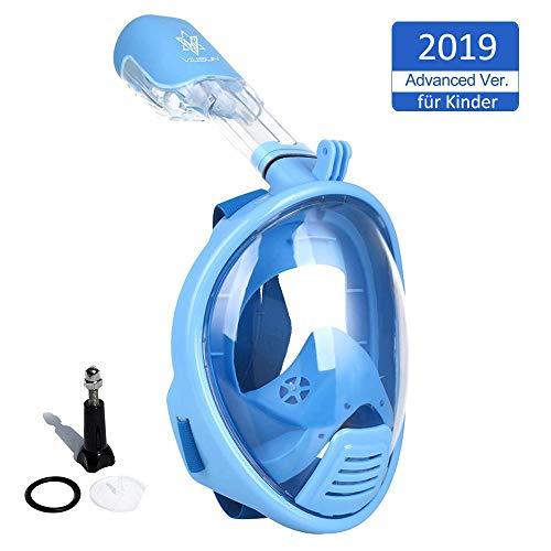 V VILISUN Tauchmaske, Vollmaske Schnorchelmaske Vollgesichtsmaske mit 180° Sichtfeld, müheloses Atmen, Dichtung aus Silikon Anti-Fog und Anti-Leck Technologie für Kinder