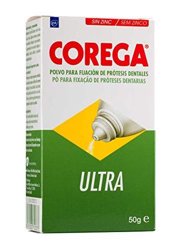 Corega, Ultra, Polvo para Fijación de Prótesis Dentales, sin Zinc, Hasta 12 Horas de Fijación, 50 g