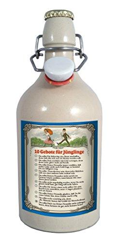 10 Gebote für Jünglinge 0,75 Liter Tonflasche Bier mit Bügelverschluss - 0,75 Liter Tonflasche mit Bügelverschluss