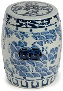 Legends of Asia Asian Traditional Carved Blue and White Dragon Ceramic Garden Stool