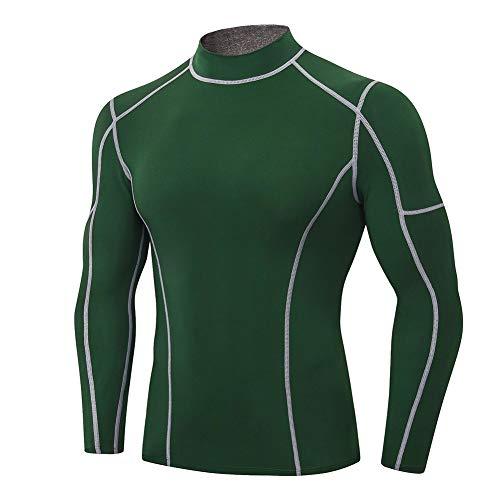 Shengwan Camiseta Compresion Hombre Manga Larga Cuello Alto Costura de Secado Rápido Camisa Deportiva Base Layers para Running Gym Ciclismo Verde Oscuro S