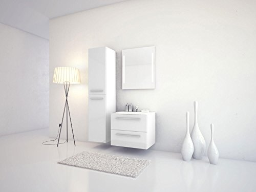 Jokey Badmöbel-Set Libato - 60 cm breit - Weiß Hochglanz - Badezimmermöbel Waschtisch mit Unterschrank Spiegel mit Beleuchtung und Hochschrank Sieper