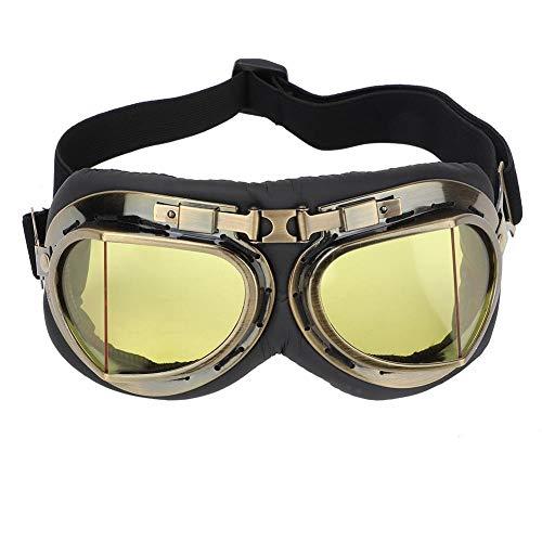 Tbest Gafas de Seguridad, Gafas de Protección Contra Rayos UV Gafas de Sol Protectoras Ajustable Gafas de Moto Retro Vintage a Prueba de Viento Gafas de Protección Ocular para Ciclismo Moto(Amarillo)
