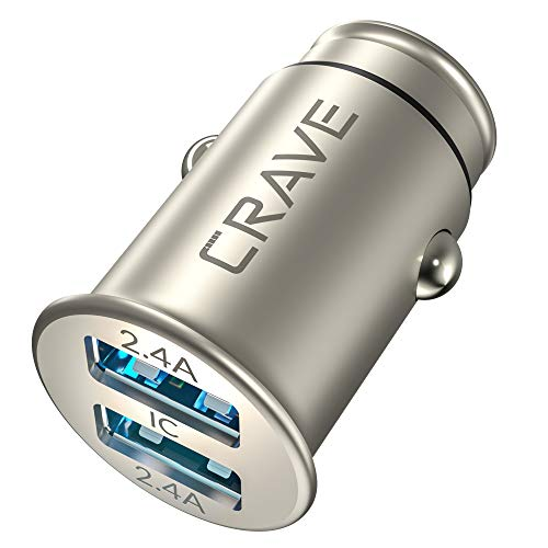 Crave Metal Car Charger [24W 4.8A 2 Port Dual USB] Zinc Alloy Universal Compact 12 Volt Charger, Smart Charge IC Technology