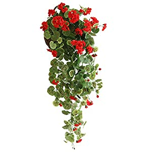 Silk Flower Arrangements QILIN 3 Packs - Artificial Flowers, 75CM Begonia Flower Vine Plants, Home Hotel Office Wedding Garden Handicraft Decoration, Red (Flower Basket Not Included)