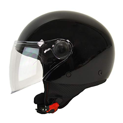 MT Street Jet-Helm · Motorrad-Helm Roller-Helm Scooter-Helm Bobber Mofa-Helm Chopper Retro Cruiser Vintage Pilot Biker ECE 22.05 (Schwarz, L)
