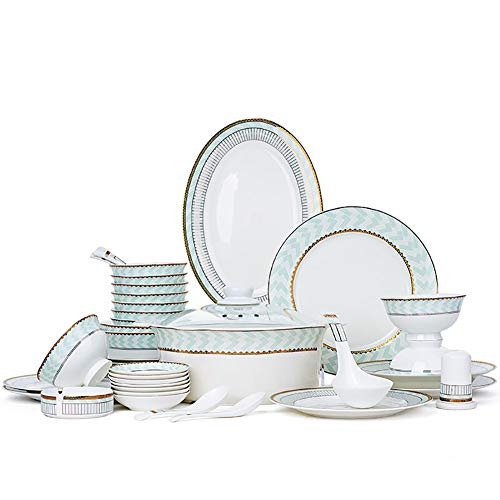 XLNB 56-Piece Dinnerware Set Service for 6, Dinner Plates Bowls and Casserole, Dishwasher and Microwave Oven Safe, European Style