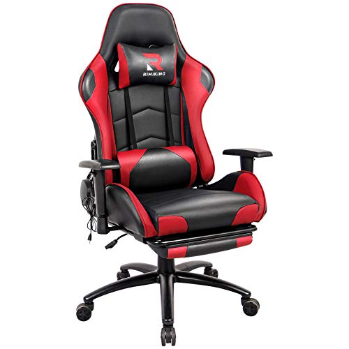 Generic Gaming Chair with Footrest, Home Office Desk Executive Chair, Adjustable Swivel PU Leather Reclining Ergonomic Computer Chair Red