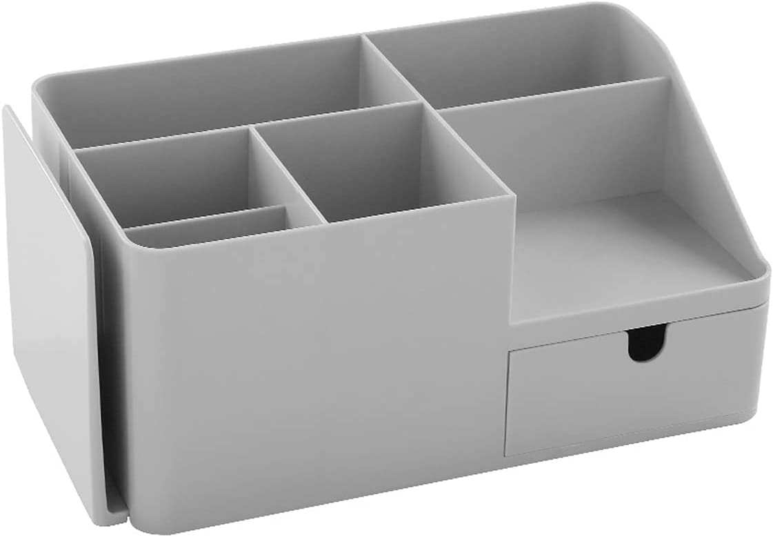Liedesho Desk Organizer Office Supplies Accessories Caddy with Drawer Retractable Bookends Compartment Makeup Storage Box for Home & Office (Large, Grey)